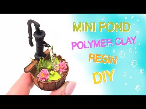 Mini barrel pond- Polymer clay (Fimo) and resin- Tutorial-DIY