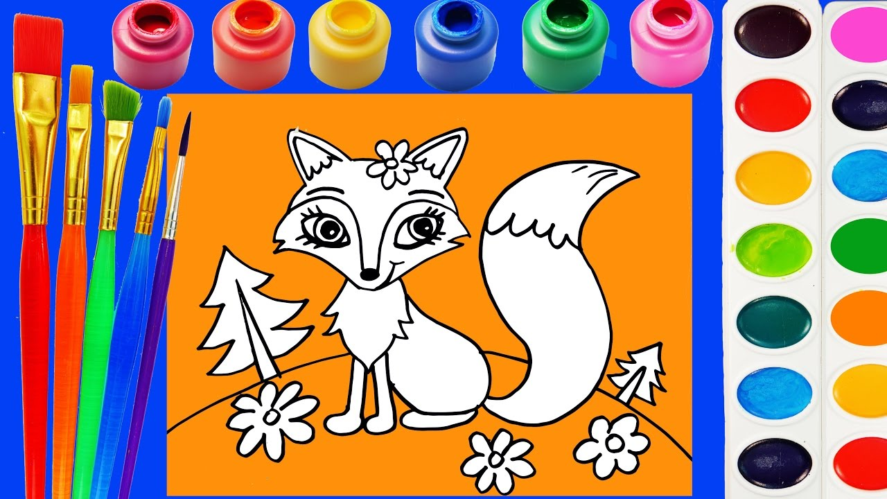 fox coloring page for kids to learn to color and paint youtube
