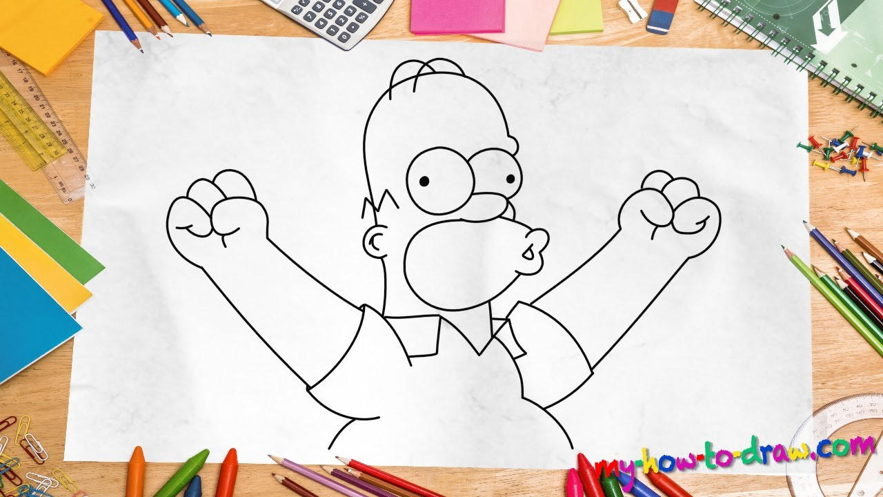 How to draw Homer Simpson - Easy step-by-step drawing ...
