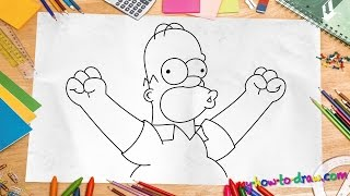 How to draw Homer Simpson - Easy step-by-step drawing lessons for kids