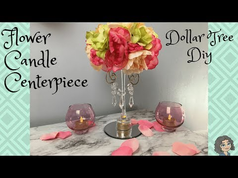 DOLLAR TREE GLAM CANDLE & FLOWER CENTERPIECE | TABLE DECOR