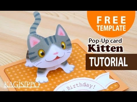 Tutorial Pop Up Card Kitten Free Template