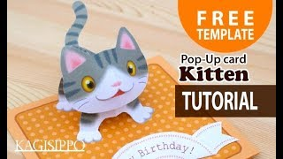 [Tutorial]  pop-up Kitten   -Birthday card-