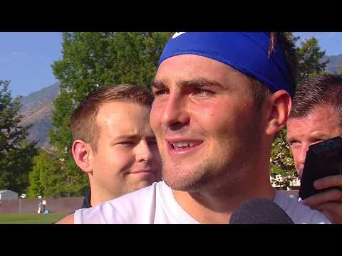 2017 BYU football: DB Tanner Jacobson with the media