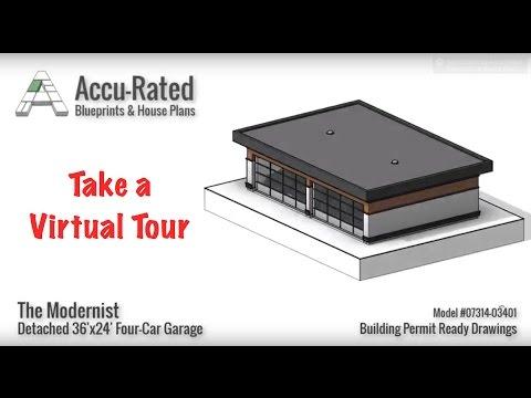 Accu-Rated Blueprints & House Plans   Modernist Four Car Garage Plans/Blueprints VIRTUAL TOUR