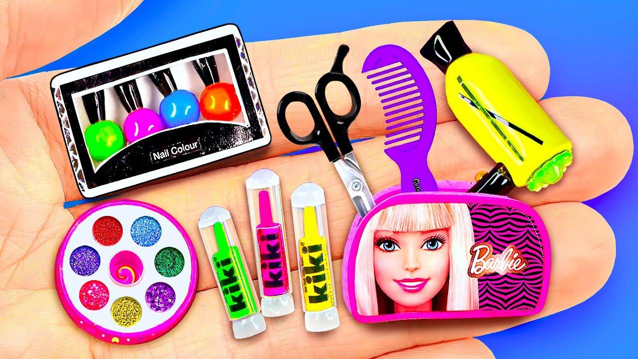 34 DIY Miniature Cosmetics for Barbie Dollhouse ~ Eyeshadow, Lipstick, Nail Polish and more