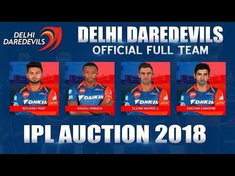 IPL Auction 2018 Live | Delhi DareDevils Full Team List | Official Squad | Gambhir Captain