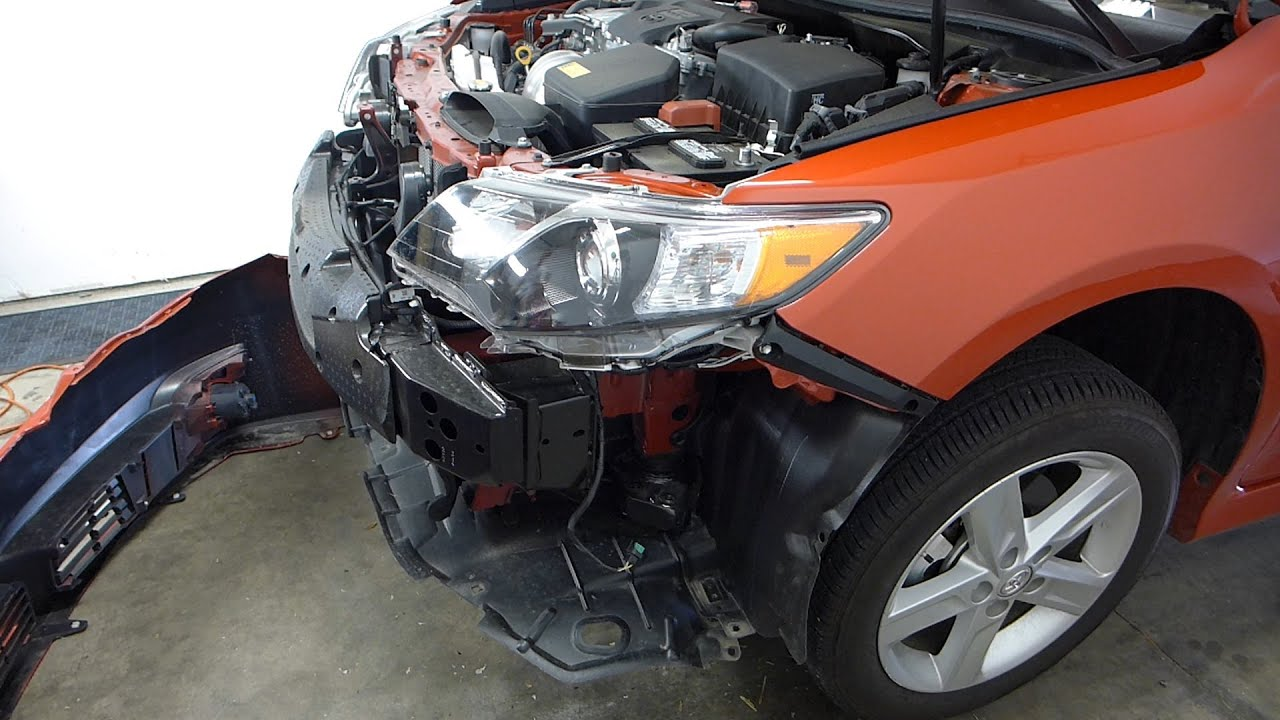 small resolution of toyota camry front bumper cover grille removal 2012 2014 replace change youtube