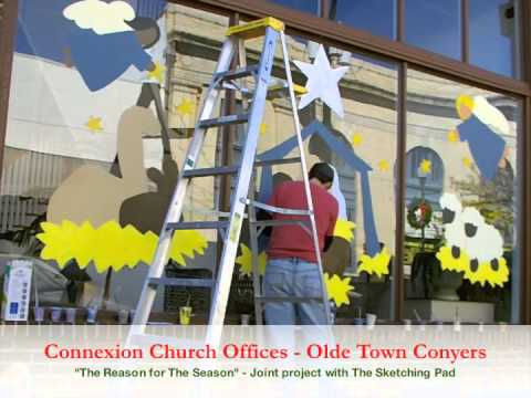 Painting the Connexion Church office windows for Christmas 2012