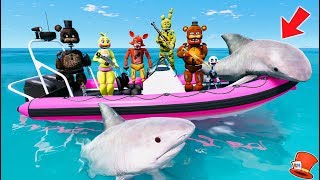 ANIMATRONICS GO SHARK HUNTING! (GTA 5 Mods For Kids FNAF RedHatter)