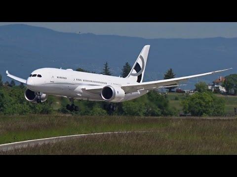 [FullHD] Jet Aviation Boeing 787-8(BBJ) Dreamliner landing at Geneva/GVA/LSGG