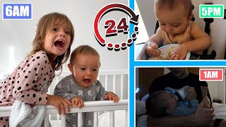 24 HOURS IN THE LIFE OF A 8 MONTH OLD BABY AND TODDLER! *THE REALITY*
