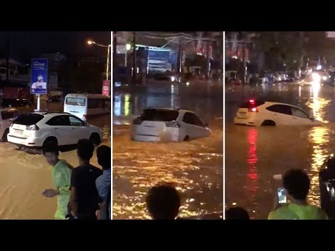 The Woody Show - FAIL: Driver Tries to Drive through Flooded Street, and You Know the Rest