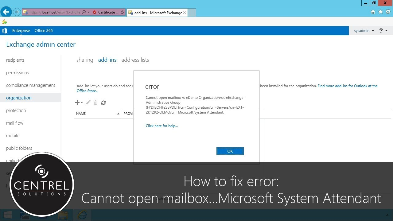 Cannot open mailbox/o=first organization/ou=exchange administrative group  microsoft system attendant