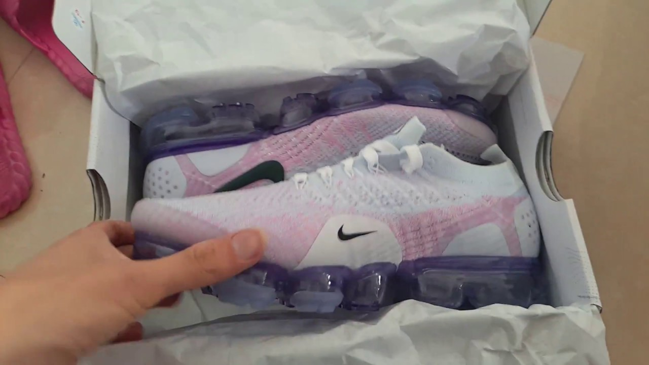 4cba0a65fb91 Nike Air VaporMax Flyknit Pink White 942843-102 - YouTube