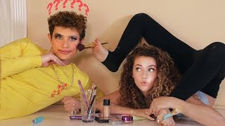 I DID MY BROTHER'S MAKEUP USING MY FEET!