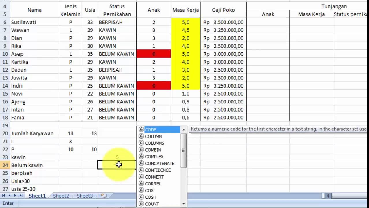 Cara Menghitung Jumlah Data Menggunakan Fungsi Count, Counta, Countif, Countifs di Microsoft
