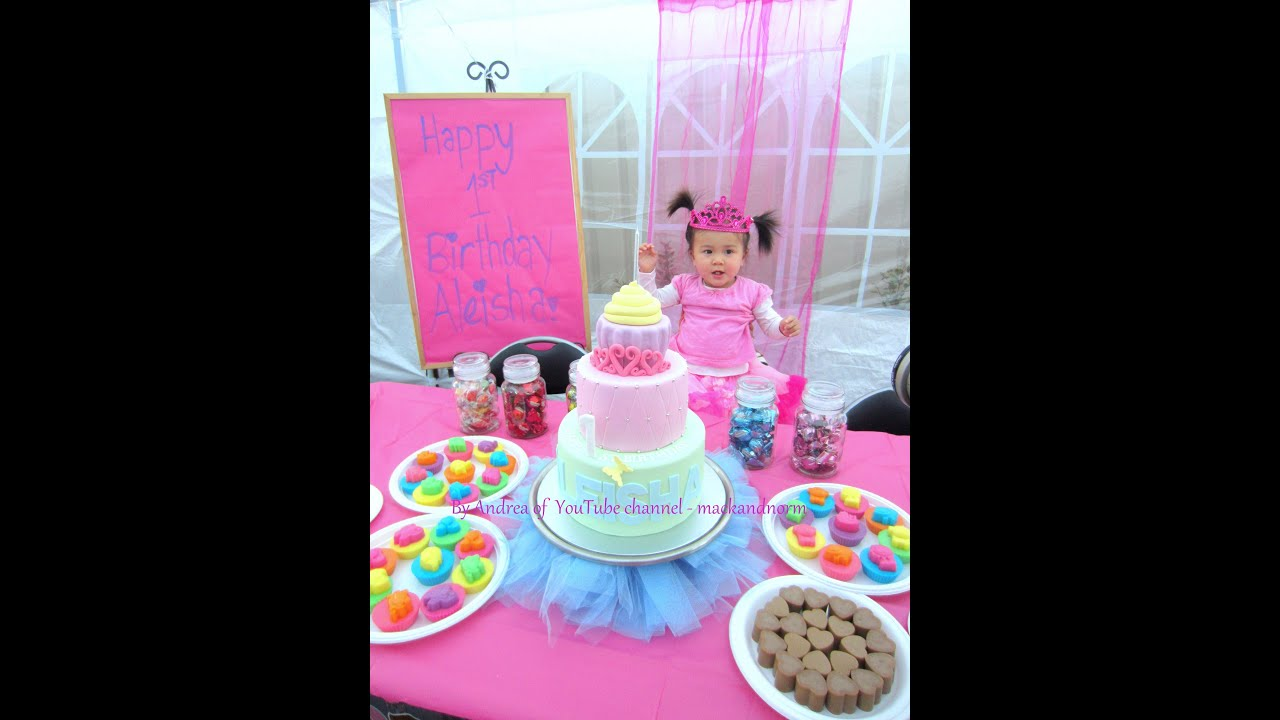 Aleisha With Her 1st Birthday Cake Dessert Table YouTube