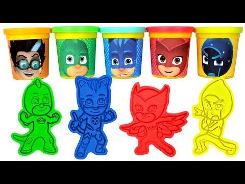 PJ Masks Play Doh Molds & Can Heads Catboy Gekko Owlette Romeo Night Ninja Luna Girl Surprise Toys