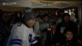 Tailgating Dallas Cowboy fans react to the winning field goal