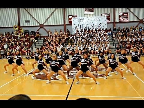 Central Cheerleaders dance at Meet the Wildcats pep rally 2015-2016
