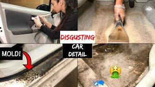 Deep Cleaning a DISASTER Smoker's Car   DIRTY Car Detailing and Complete Satisfying Transformation!