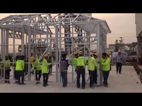 30 Men Move A Scottsdale Steel Framed Building in Thailand