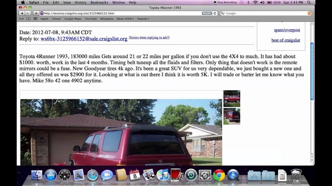 Craigslist texoma oklahoma used cars trucks and vans fsbo popular options today