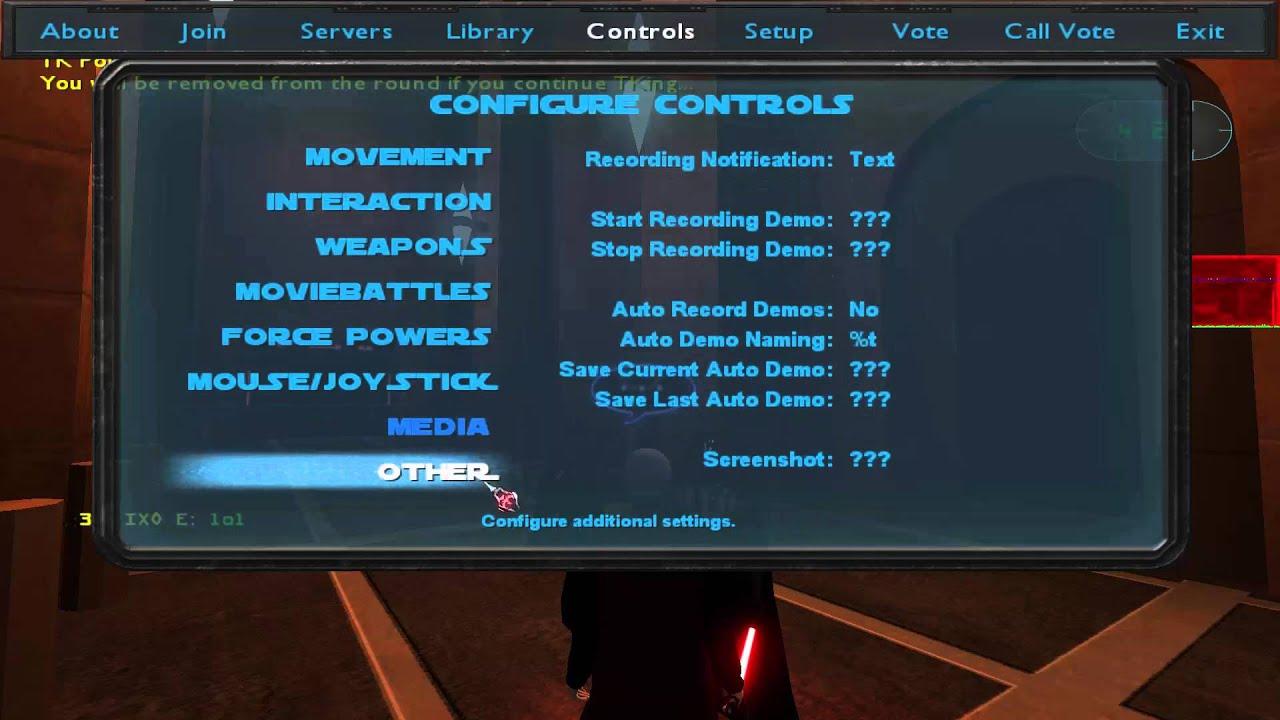star wars jedi academy movie battles 2 controls