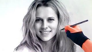 portrait from photo - Teresa Palmer Charcoal Portrait art time-lapse video Art Drawing Video