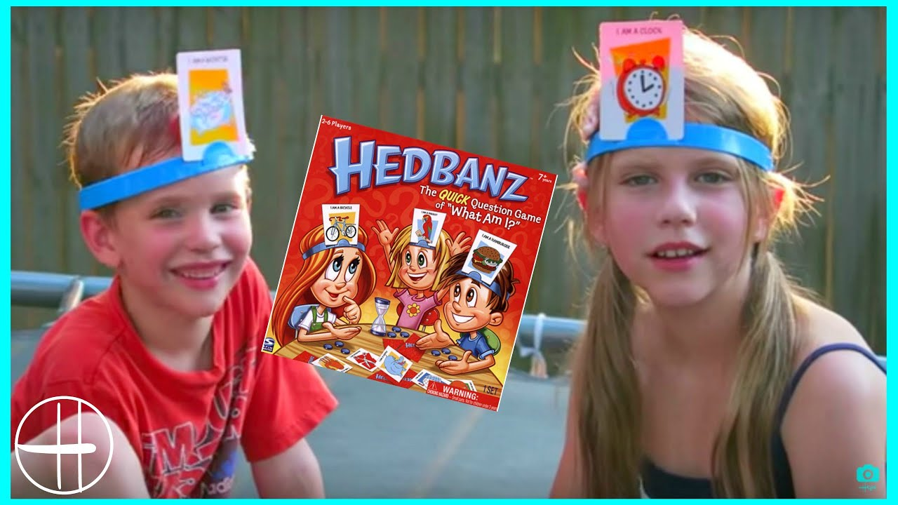 Gross HedBanz GAME w/ peas, pudding, oil wet heads cup games trampoline kids family fun hopes vlogs
