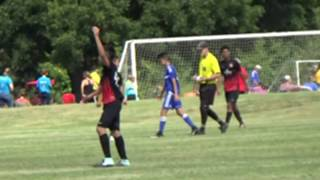 Ref grabs Player and pulls him, gives him a Red Card