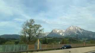 Going South from Germany to Austria and Slovenia. Highway view.