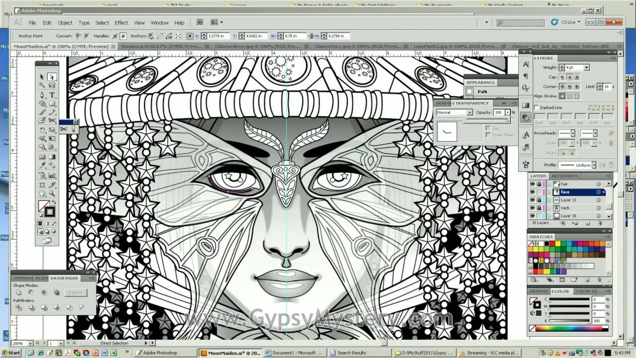Timelapse Coloring Book Speed Art Moon Maiden By Cristina McAllister