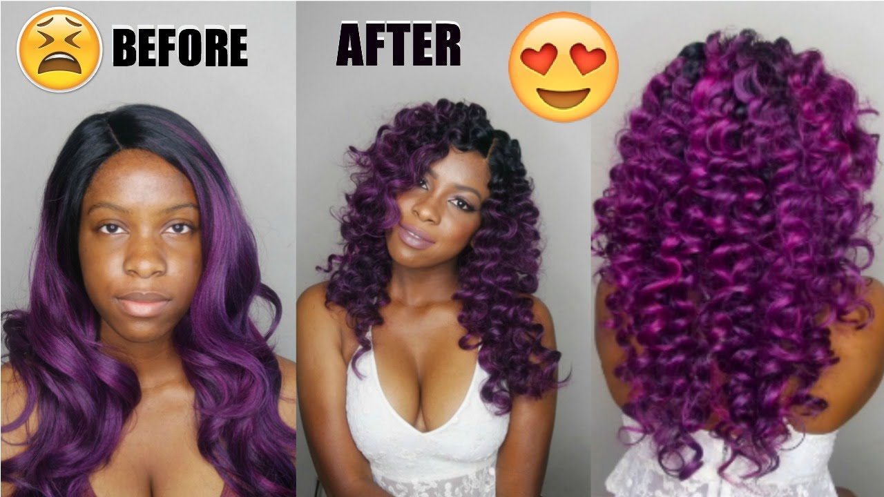 How To Curl Synthetic Hair Wig Transformation Youtube