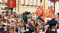 The Immortal Regiment at Victory Day 2019 in St Petersburg, Russia