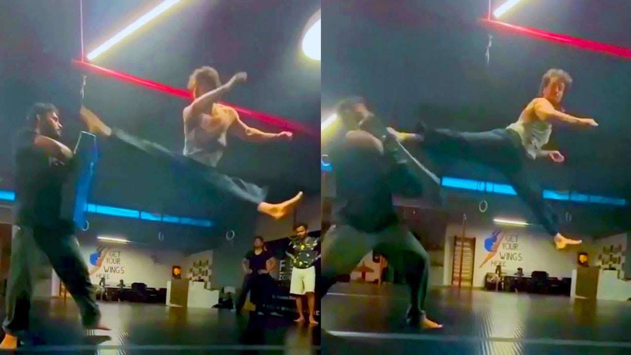Download Tiger Shroff's Non Stop Flying Kick Practice For Rambo Movie