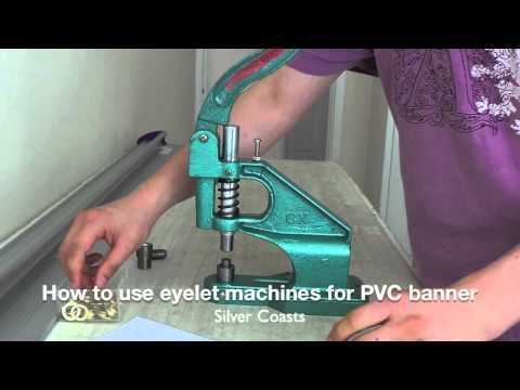 How to use portable eyelet machine to setting up eyelets for PVC banners (M1, 12mm eyelets)