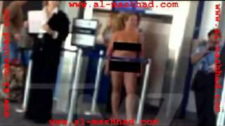 المشهد  امريكية تخلع ملابسها في المطار