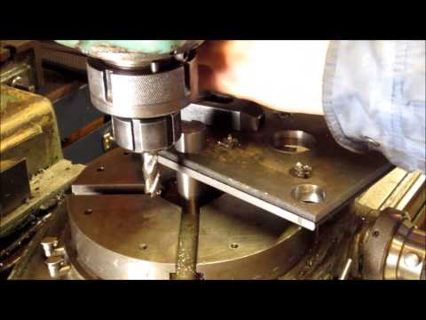 Cutting a radius with a rotary table.
