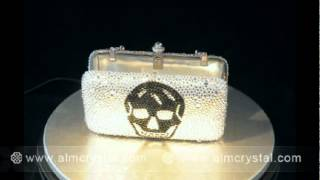 Cool Design Crystal Evening Bag - Skull