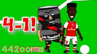 vuclip ⚽️Arsenal FC 4-1 v Liverpool FC!⚽️ Cartoon Highlights/Goals (Bellerin Sanchez Ozil Can red card)
