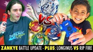 Beyblade Battle! Longinus vs Hasbro Rip Fire! Zankye vs Blast Zone Kid Battle News!