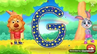Learn write alphabet for kids with lion & funny bunny and colored shape for children
