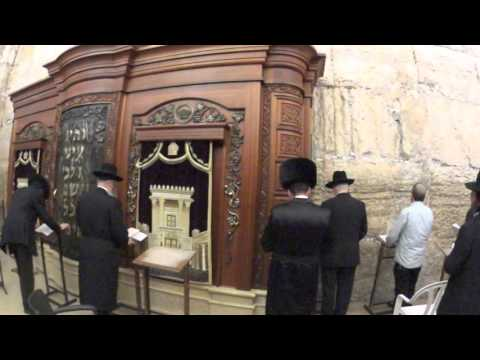 A Hasidic Jews praying at the synagogue of the Western Wall, Jerusalem an hour before Saturday