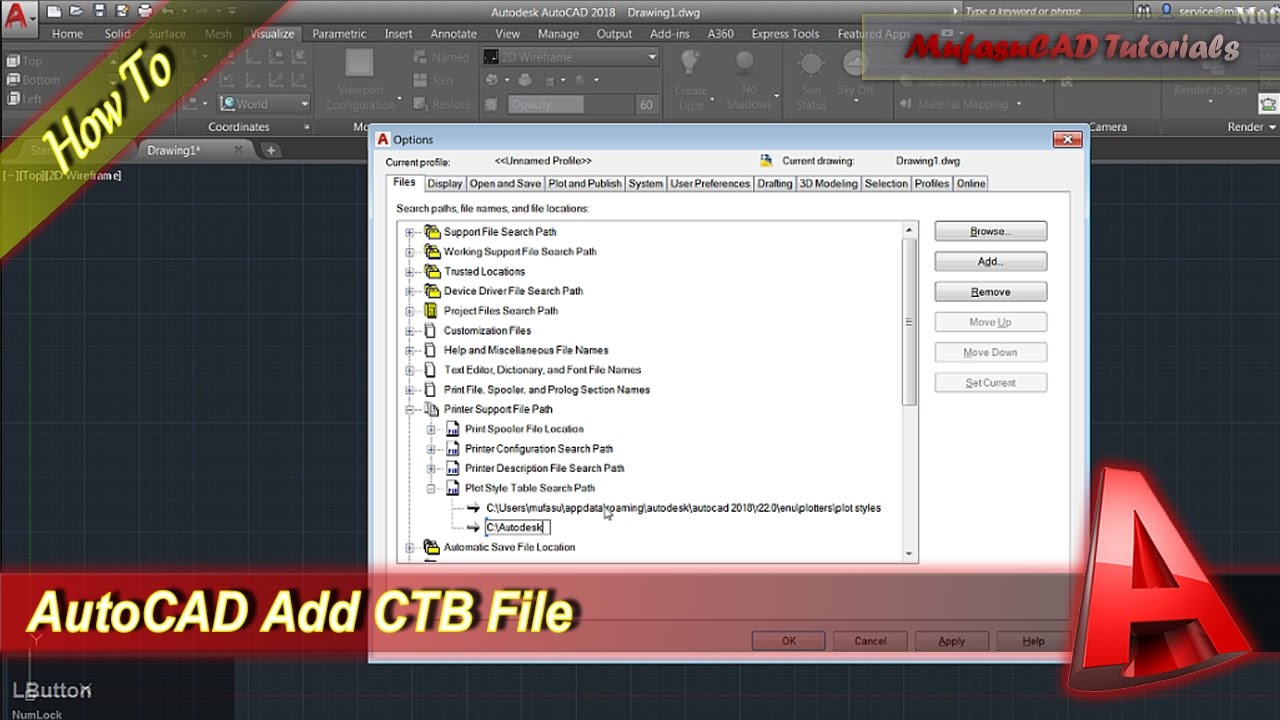 Autocad How To Add Ctb File  Youtube