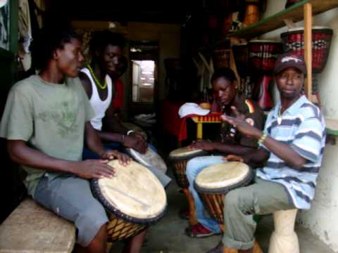 African drumming in Accra Ghana at the Cultural arts center