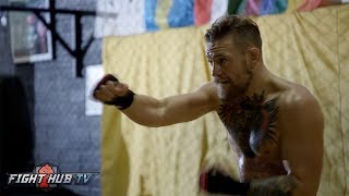CONOR MCGREGOR SHADOW BOXING! CAN AWKWARD MOVEMENT BEAT MAYWEATHER!?