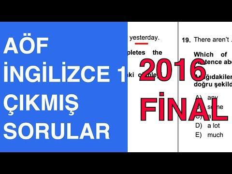 AÖF İngilizce 1 - 2015-2016 Güz Çıkmış Soru Çözümleri (Final)