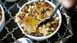 Oatmeal Brûlée With Brown Buttered Pears And Cinnamon Ginger Cream